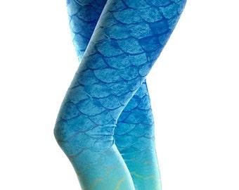 Mermaid Leggings - Mermaid Costume - Yoga Leggings - Fish Leggings - Summer Leggings - Surf - Kids Leggings - Mermaid Shorts