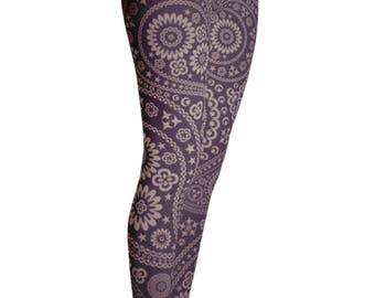 Paisley Leggings - Yoga Leggings - Patterned Leggings - Print Leggings - Womens Leggings - Flowered leggings - Kids Leggings - Yoga Shorts