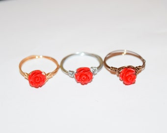 Red Rose Wire Rings, Wire Ring, Black Ring, Rings, Wire Wrap Rings, Beaded Rings, Gypsy Rings, Rose Beaded Ring, Handmade Rings, Beads