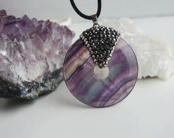 Fluorite pendant disc necklace - rhinestone necklace - woman's jewel - fluorite disc - crystal necklace - HALO necklace - balancing chakras