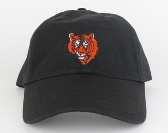 Tiger Hat - Black Embroidered Dad Hat - Polo Hat - Curved Brim Six Panel Fabric Strap Hat - Tiger Head Rawr Hat - Gucci - Brand New
