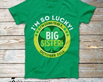Big Sister St Patrick's Day Pregnancy Announcement Shirt - St Patricks Day Baby Announcement T Shirt - Personalized Big Sister Shirt Kids