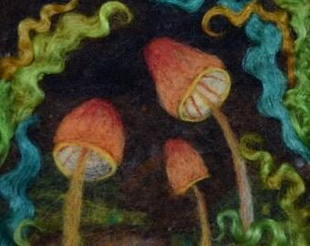 Mushroom Needle Felting ~ wool painting ~ felt art  ~ nature