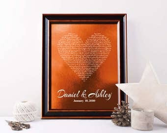 7th Anniversary Copper gift, First dance song, Wow, 22 or 7 Years Together, 22nd anniversary gift, any text - PA1003
