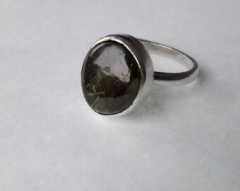 Green Garnet Silver Ring