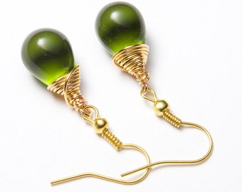Green teardrop earrings, Gold wire wrapped. Gold and green earrings. Green glass earrings. Olive green earrings.