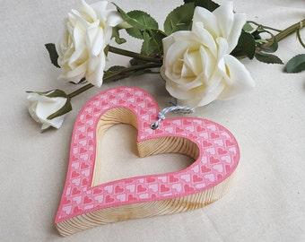 Wood decoupage heart, Hanging heart, Home decor, Wood decoupage heart, Handcrafted