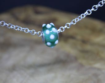 Beautiful sterling silver and glass lamp work charm bead necklace, simple, Elegant, one of a kind, Green & White.