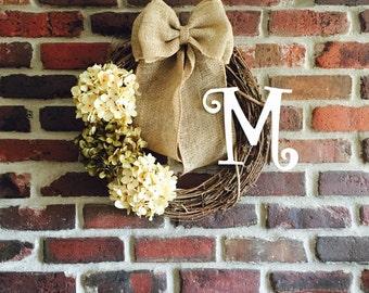White Hydrangea Wreath with Monogram-Spring Wreath-Initial Wreath-Door Wreath-Monogram Wreath-Wreath-Front Door Wreath-Everyday Wreath