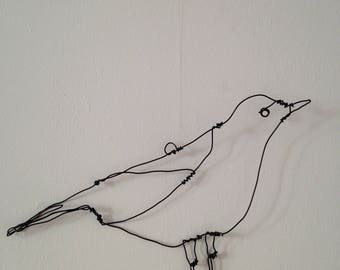 Wire wall art- Song Thrush- wall hanging- wire decoration- bird art- Scandi