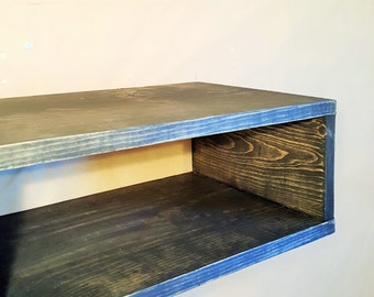 SALE Ebony stained Floating reclaimed wood nightstand-bedroom furniture-storage and organization-wood wall nighstand vanity-shelving