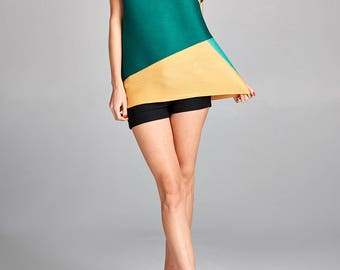 Green Geometry Color Block Pleated Top