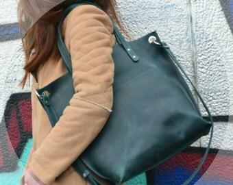 Leather Shoulder bag, Large Bag, Handmade Shoulder Purse, Green Leather Bag, Leather Shopper, Leather Purse, Leather Market Bag, Diaper Bag