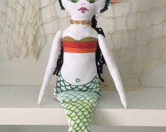 Mermaid, Handmade Doll, Mermaid Doll, Nursery Decor, Cloth Doll, Character Toy, Imaginary Friend, Childs Gift, OOAK  Doll, Ready to ship,