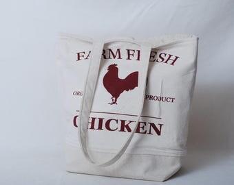 Farm Fresh Chicken Graphic Tote Bag or Purse