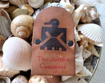 1961 - BSA Thunderbird Camporee Collectible Leather Boy Scout Neckerchief Slide - Memorabilia