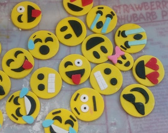 100% Edible 24 cupcake emoji topper fondant party