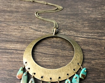 Turquoise Tribal Necklace, Bohemian Turquoise Necklace, Tribal Necklace, Bohemian Beaded Necklace, Long Necklace