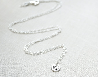 Gardening Gift Dainty Lotus Necklace Sterling Silver Disk Necklace Lotus Flower Necklace Petite Pendant Smallest Necklace Tiny Charm Yoga
