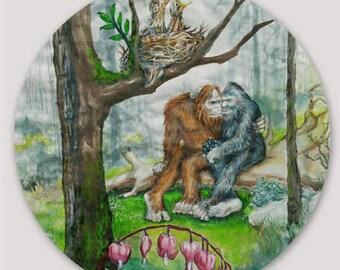 "Springtime Sweetheart's  3"" round Bigfoot Sticker (Season Series: #4 Spring)"