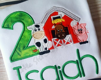 Second (2nd) Birthday Barnyard/Barn/Farm Green Theme Embroidered Shirt