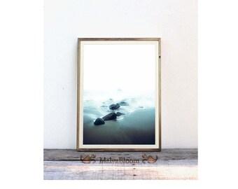 Foggy Shore Photography, Misty Shore Print, Ocean Waves Wall Art Print, Sea Beach Printable Poster, Coastal Home Decor, Large Printable Art