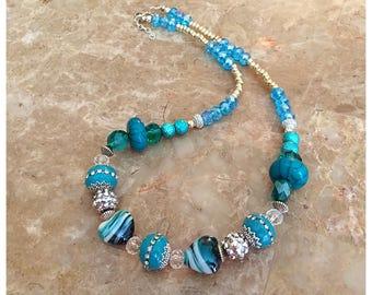 Aqua Beaded Necklace, Turquoise Necklace, Beaded Necklace, Boho Necklace, Statement Necklace, Fashion Jewelry,