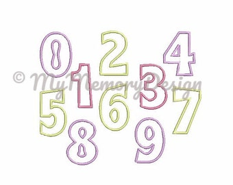 Applique numbers , Numbers embroidery design , Number Applique design , 0-9 numbers , 3 inch numbers , 4 inch numbers , 5 inch numbers