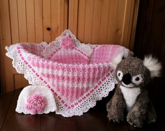 Crochet Baby Girl Blanket and Hat Set