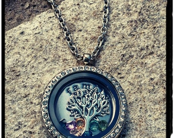 My Family - Living Locket in Stainless Steel with Crystal - Family Plate & Silver Tree Floating Charm with Crystal Birthstones -
