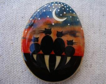 Magnet-magnet-magnet-stone-stone handpainted frige-lucky stone-cat magnet-original OOAK miniature