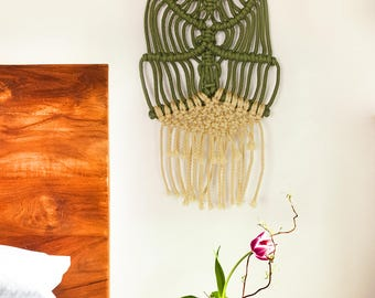 Wall macrame beige and khaki / boho marcrame