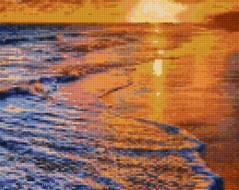 Ocean Beach Sunset Cross Stitch pattern PDF - Instant Download!