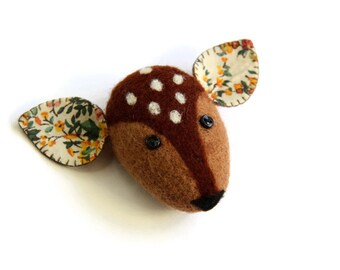 Needle Felted Deer Brooch, Felt Brooch, Woodland Jewelry, Woodland Animals, Boho Jewelry, Accessories, Deer Pin, Felt Animals, Brooch Pin
