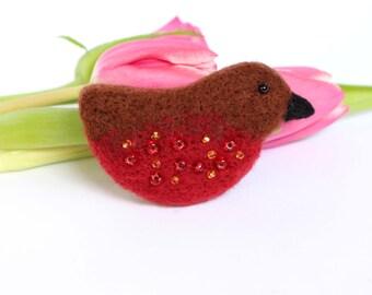 Robin Brooch, Garden Robin Brooch, Bird Jewellery, Garden Birds, Bird Lover Gift, Felted Jewellery, Needle Felted Brooch