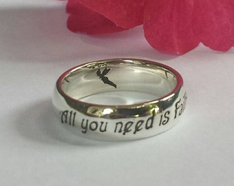 Peter Pan Ring, J.M. Barrie, Tinker Bell, quote ring, 925 sterling silver, Magical, Fairytale, Pixie Dust, Tink, Handmade