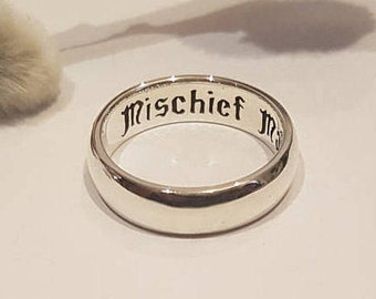 Harry Potter Ring, Mischief Managed, Engagement band, J.K Rowling, Marauder's Map, Personalized ring, 925 Sterling Silver, Handmade