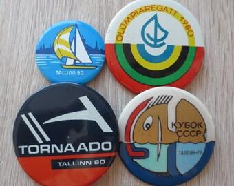 Large badges, Tallinn badges, Tallinn 1979, 1980, Retro badges, Rare badges, Soviet badges, Tallinn City badges, Sport badges, pin