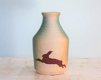 Rabbit bud vase | Turquoise and white matte stoneware vase