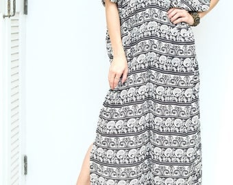 Black White Egypt Flower Spun Beach Dress Swimsuit Bikini Cover Up | Casual Maxi Short Sleeve Dress | Spring/Summer Dress
