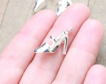 1 PIECE Silver Plated High Heel, Silver plated shoes, high heel charm, heel charms, shoe charms, fashion charm, heel shoe charm B15358