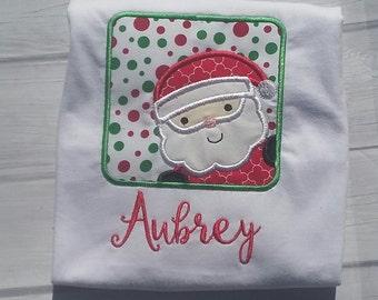 Santa shirt, Christmas shirt, embroidery christmas shirt, monogrammed christmas shirt, Santa's face shirt, girl christmas shirt, christmas