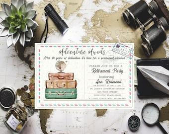 Travel retirement celebration invite Adventure Awaits Retirement party invite Surprise retirement Travel invitation Suitcase invitation