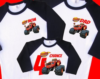 Blaze Birthday Shirts. Set of 3 Family Birthday Raglans. 1 Toddler and 2 Adult Sizes (up to XL) 1st 2nd 3rd 4th 5th 6th 7th 8th 9th (35210)