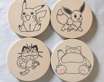 Pokeman Sandstone Coasters, Sandstone Coasters, Round Coasters