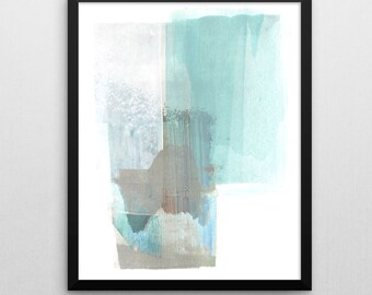 Abstract Art Print, Taupe & Turquoise Blue, Aqua Abstract Painting, Giclee Print, Abstract Watercolor Painting, Abstract Wall Art Print