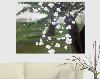 White Flowers on Blooming Almond Tree Acrylic Painting