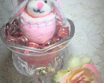Easter Bunny In An Easter Egg Needle Felted OOAK Table Basket Decor ~ Free Shipping
