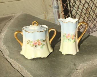 Haviland and Cie Ranson Creamer and Sugar Bowl Set / H & Co. L France /  Hand Painted / Limoges  / Flowers / Floral / Gold Scalloped Rim