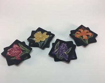 Vintage embroidered floral coaster set